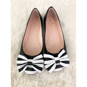 Kate Spade Black Flats With Bow Detail